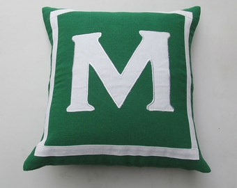 Monogrammed pillow custom made 18 X 18 inch green and white or the colors of your choice and monagrm