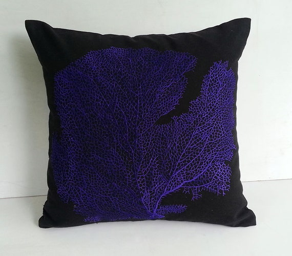 indigo blue coral fan on black throw pillow custom made