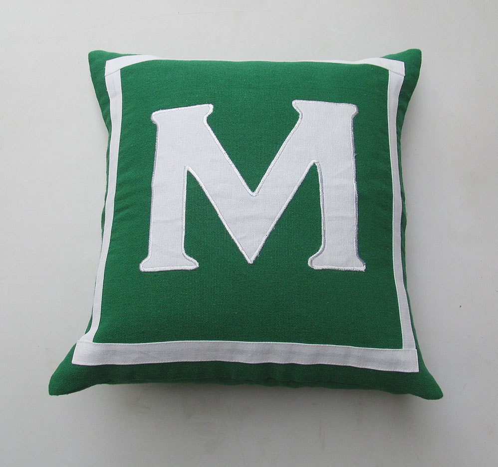 monogrammed pillow custom made 18 x 18 inch green and white or