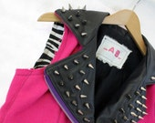 Spring Cleaning Sale - Spiky Pink and Black Leather and Wool Motorcycle Vest - Recycled Materials - Lots of Studding
