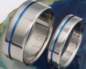 Original Thin Blue Line Titanium Wedding Band Set - Matching His and Hers - Blue Rings - stb2