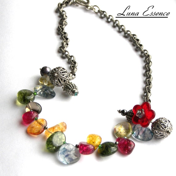 Necklace with Colorful Briolette Agates  Silver Chain