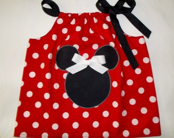 Mickey Minnie Mouse Applique Pillowcase Swing Top Size 12M 18M 24M 2 3 4 5 6 7 8 9 10