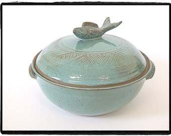 Koi Fish Handled Casserole in Turquoise by misunrie