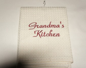 Grandma's Kitchen Towel, Waffle Weave or Linen, Embroidered