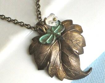 Brass Leaf Necklace - Dragonfly, Czech Flower, Leaf Jewelry