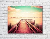 Lake Photograph, Magical Photo, Wall Decor, Office Decor, Home Decor, Contrast, Green, Pink, Dock, Lookout, Clouds - Surreal La