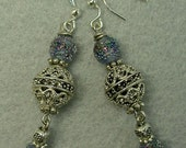 Vintage 1940s RARE Japanese Sapphire Blue Sugar Bead Earrings, Ornate Silver Beads