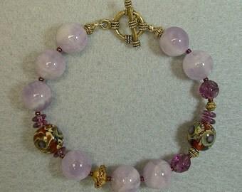 Vintage Cape Amethyst Bead Bracelet, Vintage 1950s German Purple Glass, Chinese Amber Gold Lampwork Glass