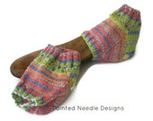 Spa Socks - Hand Knit Multi-Colored Striped Spa or Heel Socks