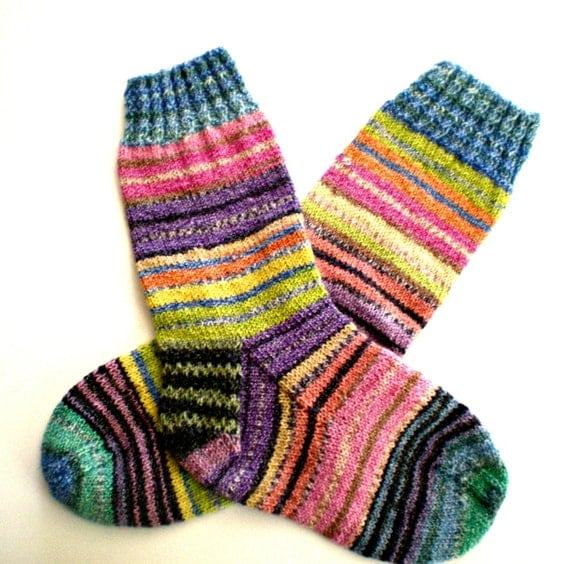 Hand Knit Women's Socks with Multi-Colored Stripes