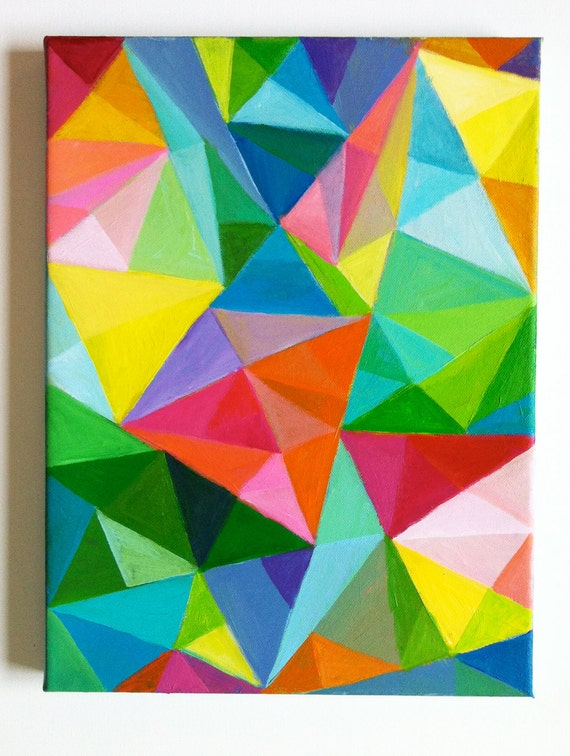 Abstract original acrylic painting colored triangles blue - Fall landscaping ideas a mosaic of colors shapes and scents ...