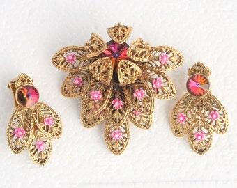 Filigree Pink Flower Brooch Earrings Set Pink Rivoli Rhinestone Enamel West German Pin