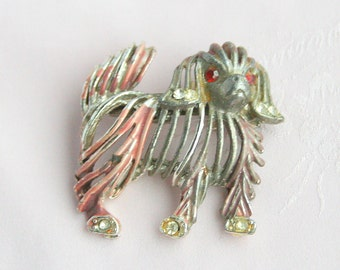 Dog Brooch Vintage 1940s Pomeranian Figural Pin Enamel Openwork Cockapoo Distressed Antiqued Look