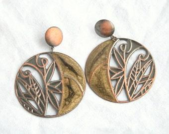 Vintage Copper Green Enamel Earrings Pierced Big Dangle Drops Floral Openwork