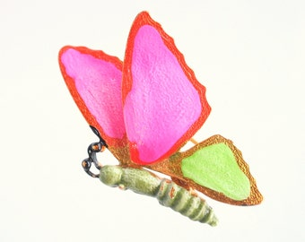 Neon Butterfly Brooch Vintage Hot Pink Bright Green Enamel Butterfly Figural Pin