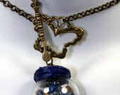 Morgana's Secrets Long Necklace Crystal Ball Vintage Rhinestones Mother of Pearl Blue Sodalite