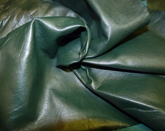 Gorgeous dark GREEN super soft  lambskin leather - a  full hide of 5 square foot hide