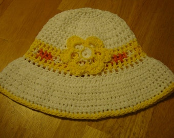Crocheted Cotton Sun Hat With a Flower Number 2