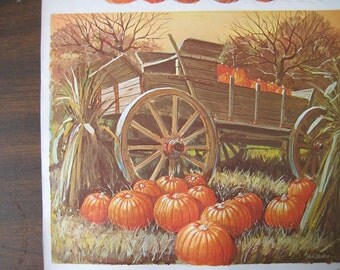 Old Print of Wagon with Pumpkins and Barns. FREE U.S. SHIPPING
