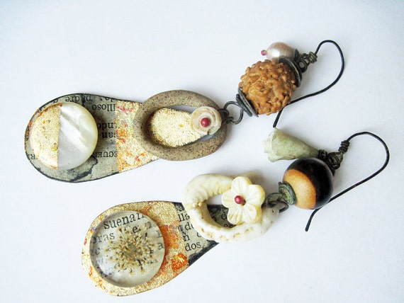 Nothing contains me. Rustic Gypsy beachy, victorian tribal ivory white button shell ceramic gold leaf earrings