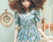 jiajiadoll -blue flower lace shirts for Momoko or Misaki or Blythe