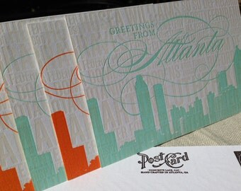Atlanta Letterpress Postcards-- 5 pack- Colors will vary