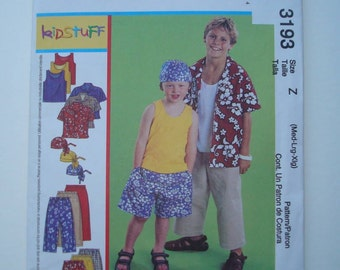 McCall's 3193 - Sewing Pattern for Children's and Boys' Shirt, Tank Top, Pull-On Cropped Pants, Pull-On Shorts and Headwrap New and Uncut