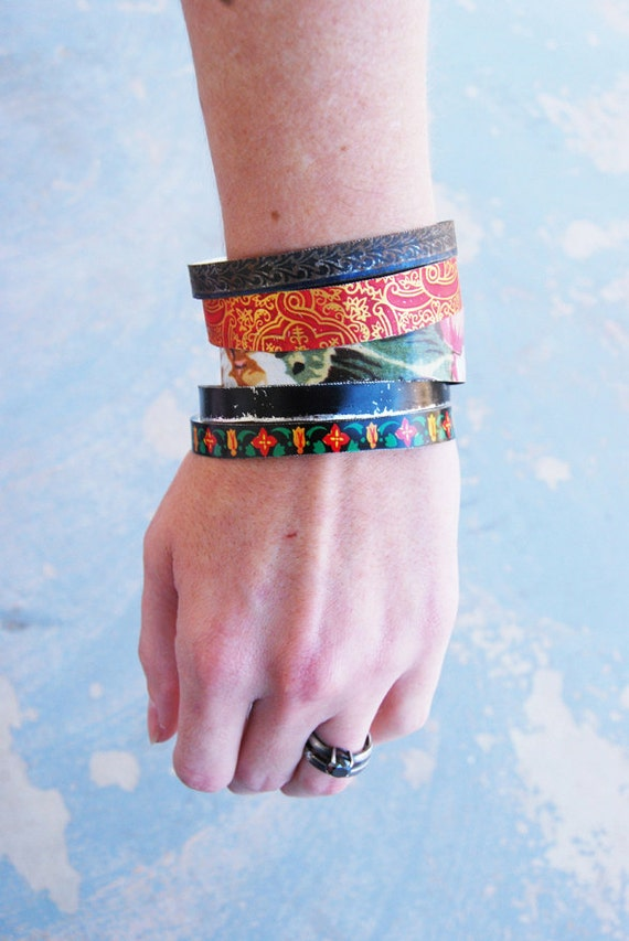Gypsy Bangle Bracelet Set - Red Gold and Black Asian Recycled Tin Bracelets - Views from a Tin Collection