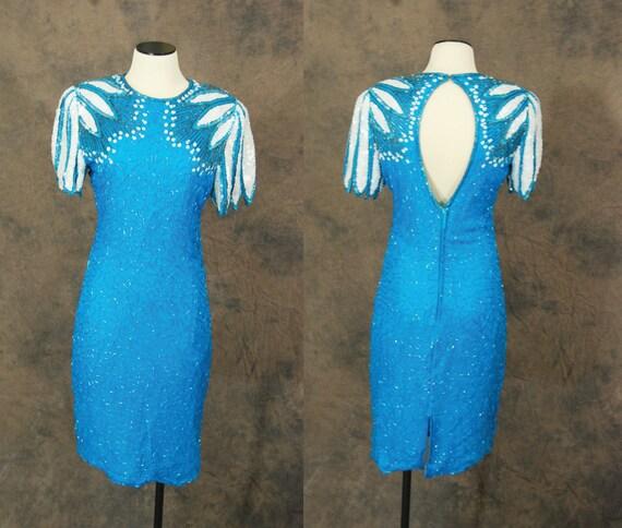 1980s Blue Beaded Dress - 80s Cocktail Dress - Sequin Angel Wings Backless Dress Sz S