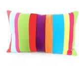 Neon Bright Color Block Pillows, CUSTOM for CD, Bright, Striped, Banded Stripes, Unique, Eco Friendly Boho Chic Cushion 13x22