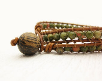 Unakite Leather Wrap Bracelet / Eco Friendly Leather / green orange ethnic gemstone wrap / tan khaki woodland safari bohemian inspired wrap