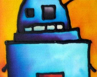 Another Robot Hand Painted Silk Card
