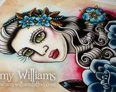 Ugly Pretty Girl Tattoo Art A3 Print