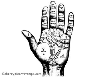 Fortune telling, Palmistry, Hand - CLiNG Rubber STAMP by Cherry Pie Art Stamps