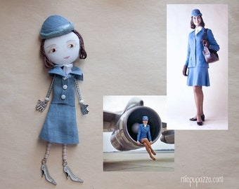 Made to order Custom Personalized Art Doll Brooch mixed media collage