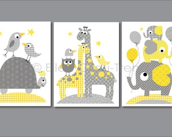 Kids Wall Art- Gray and Yellow animals print set