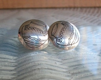 Southwestern Sterling Round Earrings Pottery Pierced