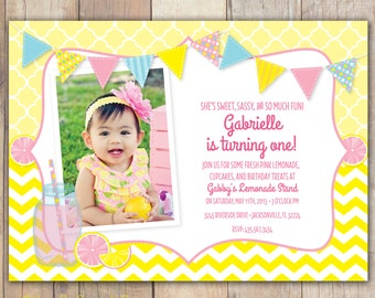 Pink Lemonade - Custom Photo Birthday Invitation for any age Girl