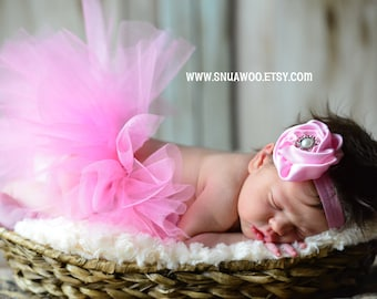 Newborn pink baby Tutu WITH Headband, Baby Pink Tutu, Newborn Girl Photo Prop, Baby Tutu, Newborn Baby Pictures, Baby Photo Prop, Pink Tutu