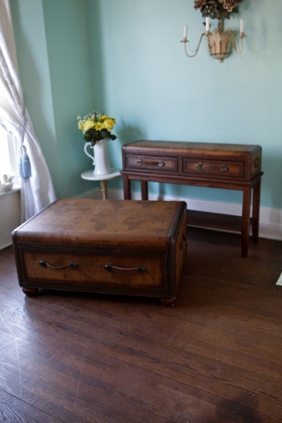 Vintage Luggage Coffee And Sofa Table Leather Maps Old World