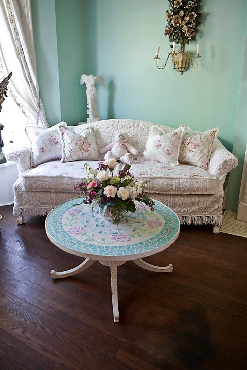 Shabby Chic Sofa Couch Slipcover Ed By VintageChicFurniture