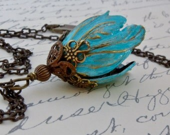 Turquoise Flower Necklace, Floral Pendant Jewelry, Tulip Flower Necklace, Turquoise Jewelry