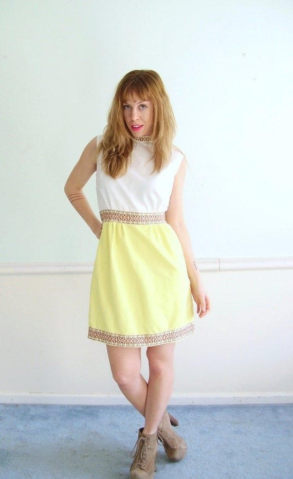 Lemon Jelly Vintage 60s Sleeveless Yellow and White Colorblock Mini Dress SMALL S