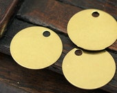 20 Pcs Raw Brass Round Big Hole Stamping Tags, Cabochon Tags, Pendant,findings (20 Mm) Brs 527 ( A0293 )
