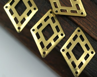 Brass Diamond Charm, 30 Raw Brass Tribal Diamond Charms, Findings (24x16mm)   A0620
