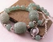 Aventurine Necklace, Handcarved Green Aventurine Necklace, Green Gemstone Necklace, Statement Necklace, Gift