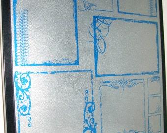 Urban Blue ..Magnet Dry Erase Steel Memo Board / Office Decor / Organization / Housewarming Gift / Desk Accessories / Message Bulletin