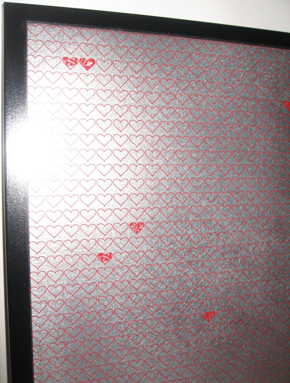Tiny Red Hearts..Magnet Dry Erase Memo Board / Housewarming Gift / Office Decor / Organization / Wall Decor / Message Board / Desk / Love