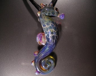 Seahorse Pendant, wearable art, handmade borosilicate glass, with satin cord, clasp and gift bag, unique gift, FREE SHIPPING